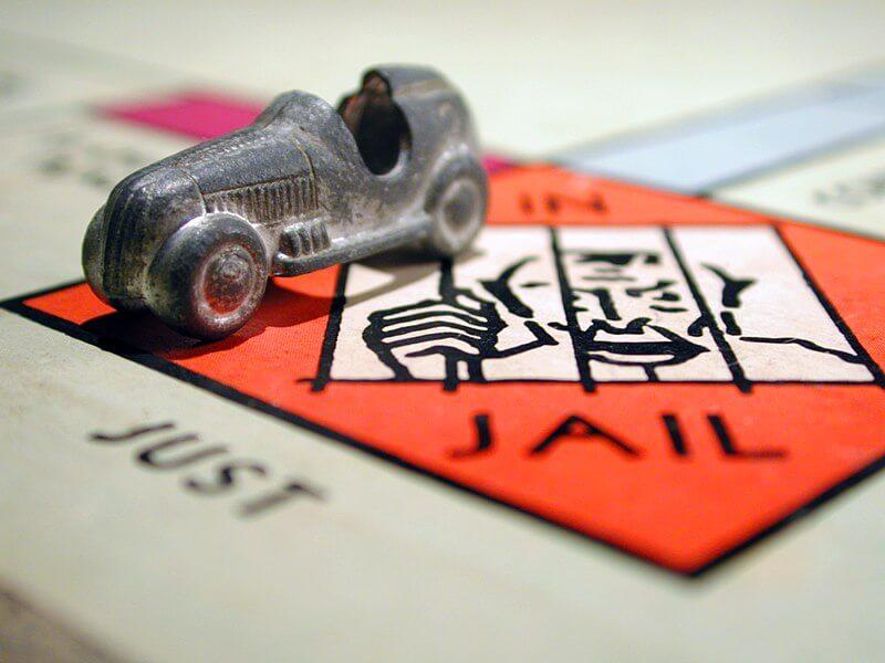 Monopoly token in Jail