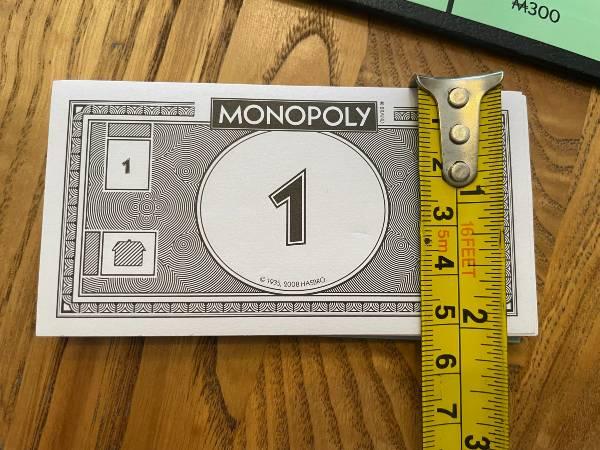 Monopoly money height