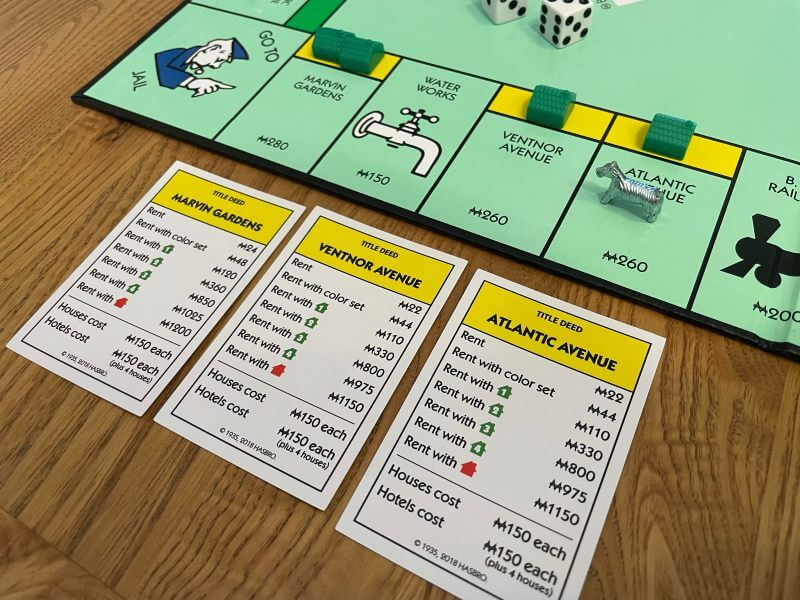Yellow Monopoly property cards and board