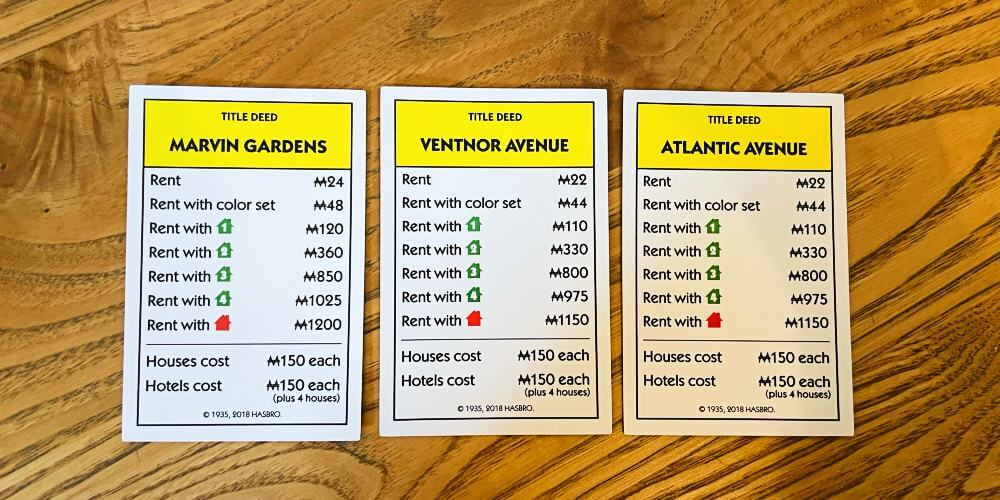 Yellow Monopoly Title Deed Cards